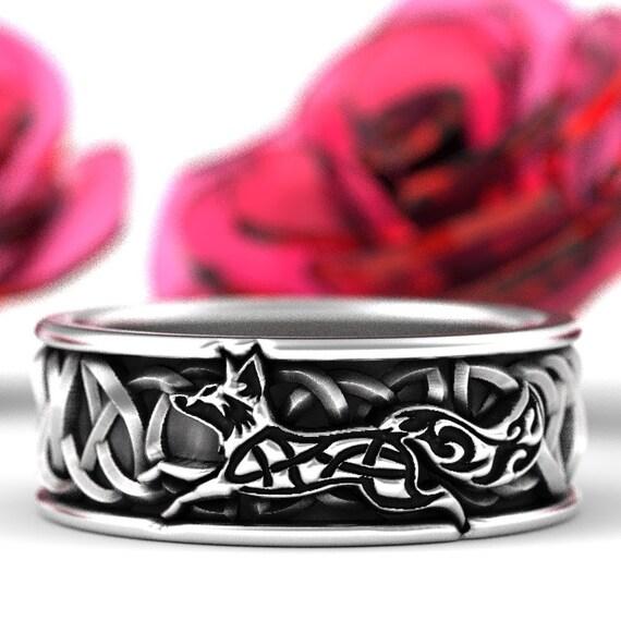 Sterling Silver Celtic Fox Ring, Fox Wedding Band, Mens Wedding Band, Irish Wedding, Fox Jewelry, Celtic Knot Ring, Custom Size 1240