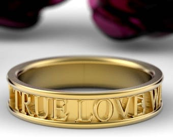 Christian Purity Ring True Love Waits Custom Made in 10K 14K 18K Gold, Palladium or Platinum Made in Your Size R5001