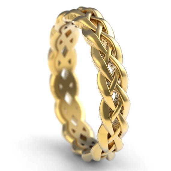Gold Celtic Wedding Ring With Braided Cut-Through Knotwork Design in 10K 14K 18K or Palladium, Made in Your Size 1195