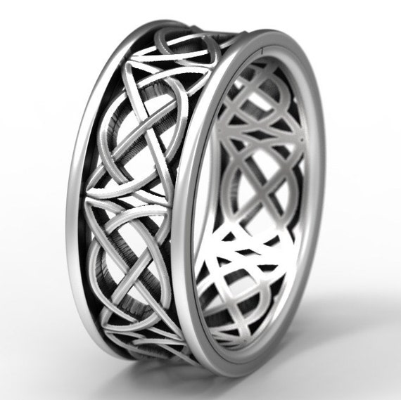 Celtic Wedding Ring With Open Cut-Through Knotwork Design in Sterling Silver, Made in Your Size 1139