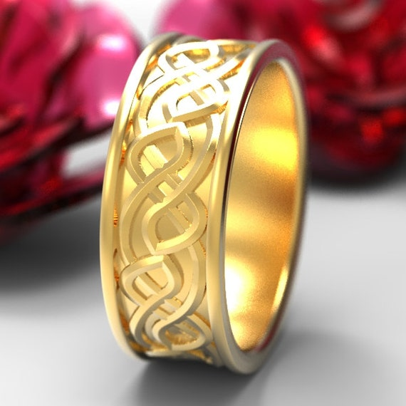 Celtic Wedding Ring With Raised Woven Knotwork Design in 10K 14K 18K Gold, Palladium or Platinum Made in Your Size CR-73b