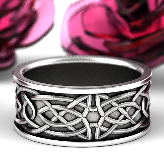 Celtic Wedding Ring, Recycled Silver Ring, 925 Sterling Silver Celtic Knot Ring, Black Patina, Hand Crafted Rings in Your Size CR-112