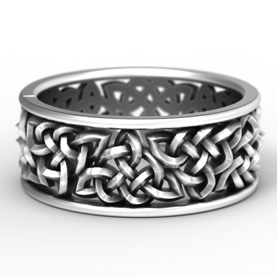 Celtic Wedding Ring With Open Cut-Through Knotwork Design  Sterling Silver, 10K 14K 18K Gold, Palladium, or Platinum Made in Your Size 1140