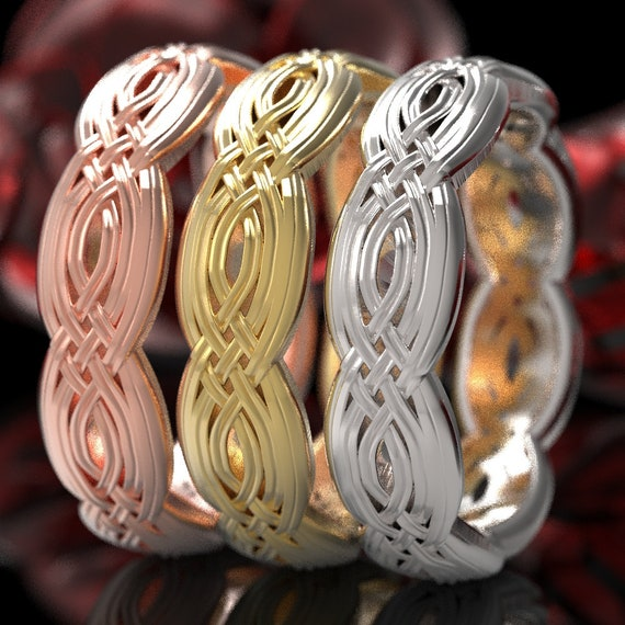 Braided Celtic Knot Ring, Unique Wedding Band, Celtic Eternity Ring in 10k 14k 18k Gold or Platinum  Made in Your Size 1284