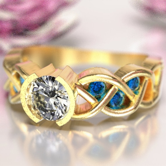 Celtic Sapphire and Moissanite Engagement Ring with Braided Knotwork Design Made in 10K 14K 18K Gold or Palladium, Made in Your Size Cr-1006