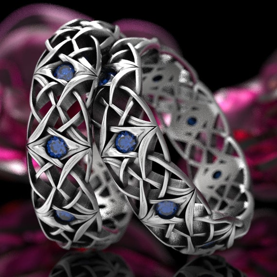 Celtic Eternity Band Set with Sapphires, Celtic Sapphire Wedding Set, Bespoke Celtic Knot Rings, Sterling Silver, Made in Your Size CR-1300