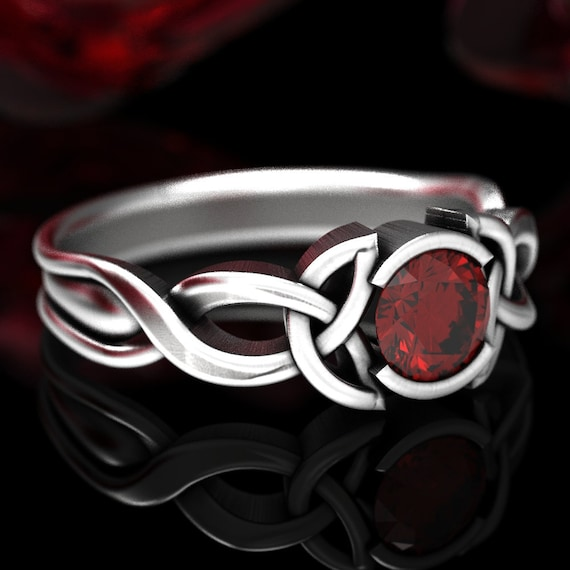 Celtic Ruby Engagement Ring With Trinity Knot Design in Sterling Silver, Made in Your Size CR-405b