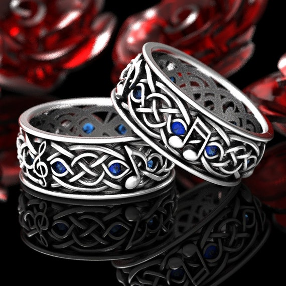 RESERVED FOR Kashana, 2 Payments for Custom Musical Celtic Wedding Ring Set with Sapphires in Sterling Silver,, Music Note Ring Set, CR1208