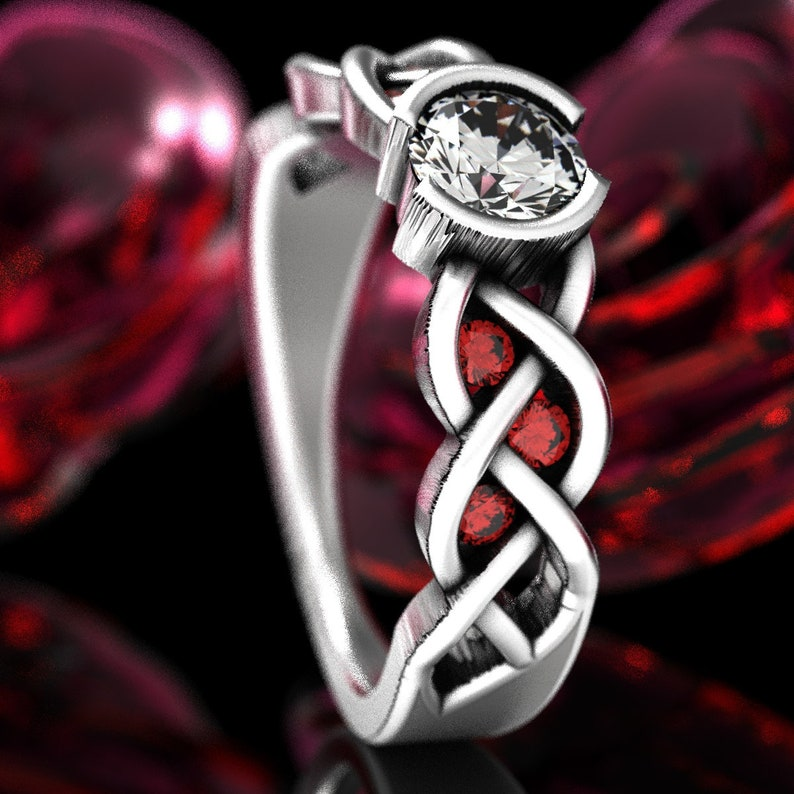 Made in Your Size Cr-1066c Celtic Cut-Through Quaternary Knot Design Ring Sapphire in Sterling SIlver or Palladium 10K 14K 18K Platinum