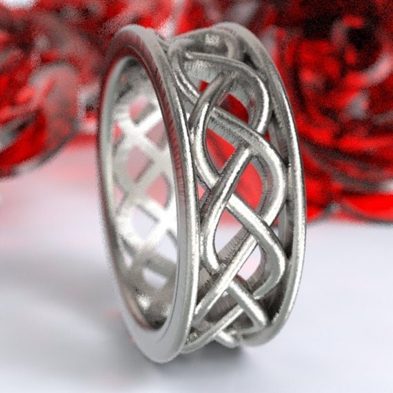 Celtic Wedding Ring, Boho Ring, Braided Ring, Celtic Knot Ring Made in Sterling, 10K 14K 18K Gold, or Platinum Made in Your Size CR-271