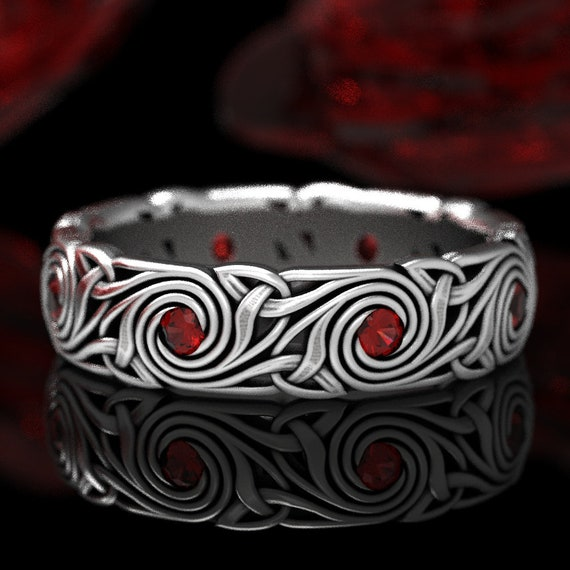 Celtic Knot Ring, Spiral Ruby Wedding Band, Celtic Trinity Triskele Ruby Wedding Ring, Custom Made Sterling Celtic Wedding Ring 1289