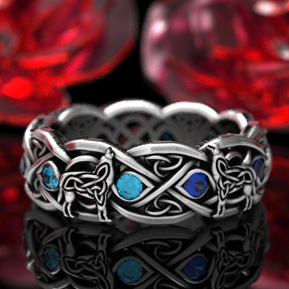 RESERVED FOR KASHETA - Remake Custom Sterling Silver Celtic Wolf Ring with Blue Diamonds & Sapphires, 1267