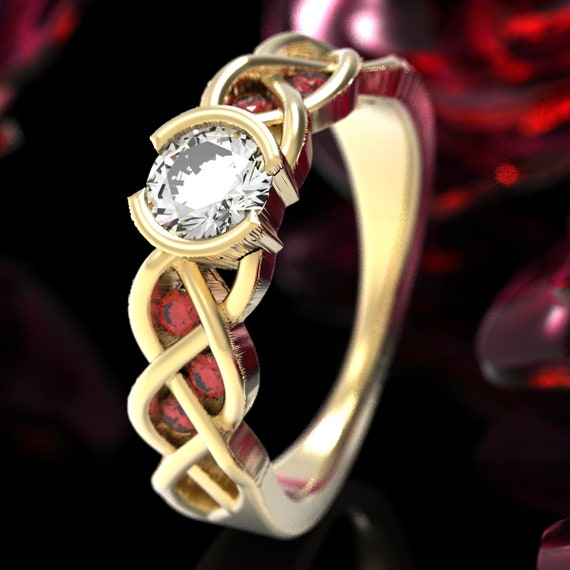 Celtic Ruby and Moissanite Engagement Ring with Braided Knotwork Design Made in 10K 14K 18K Gold or Palladium, Made in Your Size Cr-1006