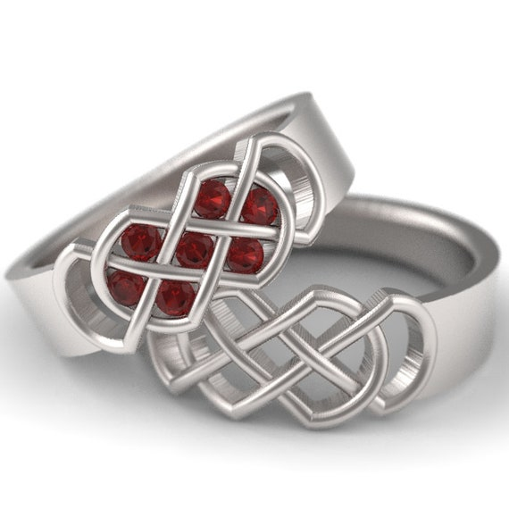 Celtic Ruby Wedding Band Set With Infinity Knot Design in 10K 14K 18K Gold or Platinum Made in Your Size 771 770
