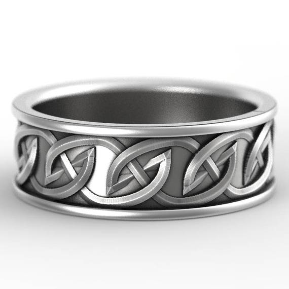 Celtic Wedding Ring with Interwoven Tribal Knotwork Design in Sterling Silver, Made in Your Size CR-516