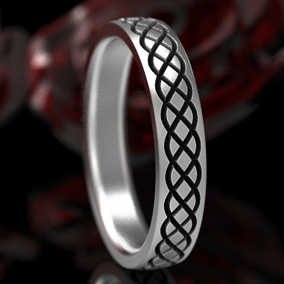 Engraved Celtic Wedding Ring With Braided Celtic Knot, Celtic Infinity Ring, Sterling Silver Celtic Wedding Ring, Made in Your Size CR-726