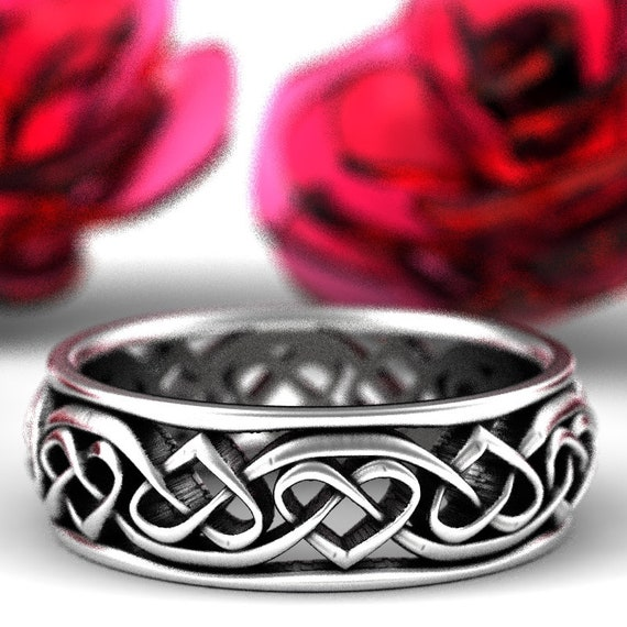Celtic Heart Wedding Ring With Infinity Celtic Knotwork Design in Sterling Silver, Made in Your Size 1245