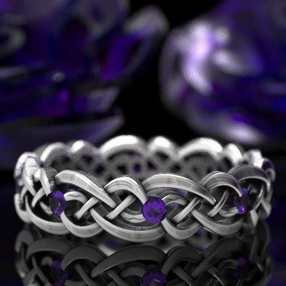 Eternity Celtic Infinity Band with Amethyst, Celtic Knot Ring made in Sterling Silver, 10K 14K 18K Gold, or Platinum Made in your size 1044