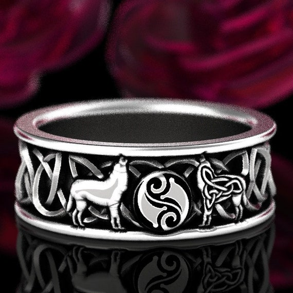 RESERVED FOR Adam Custom Celtic Wolf Ring with Yin Yang Symbol in 950 Platinum, Custom Size 1170