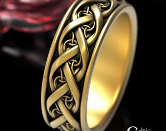 Gold Celtic Wedding Band,  10K 14K 18K Gold Platinum Infinity Ring, Modern Wedding Band, Men's Infinity Wedding Ring, Eternity Ring, 1419