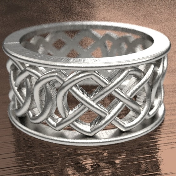 Celtic Wedding Ring With Murphy Infinity Knotwork Design in Sterling Silver, Made in Your Size CR-268