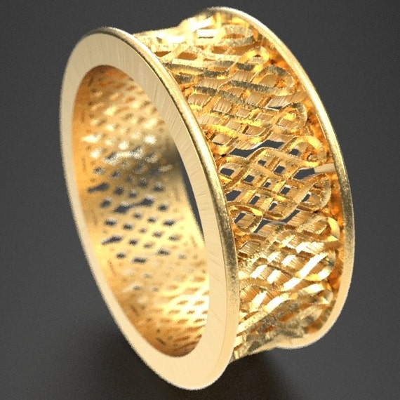 Celtic Wedding Ring With Endless Eternity Knot Design in 10K 14K 18K Gold, Palladium or Platinum, Wedding Ring Made in Your Size CR-650