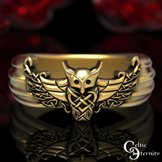 Gold Owl Ring, Viking Owl Ring, Viking Wedding Band, Men's Viking Ring, Mens Gold Wedding Band, Gold Viking Ring, Celtic Owl Ring, 1436