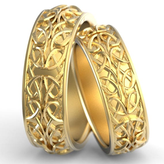 Celtic Wedding Ring Set With Interwoven Dara and Pretzel Knot Design Made in 10K 14K 18 Gold, Palladium, Platinum, Made in Your Size cr-628