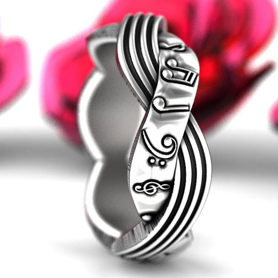 Musical Celtic Wedding Ring, Woven Music Note Sterling Silver Ring, Music Notes Ring, Musical Wedding Band, Made in Your Size 1212