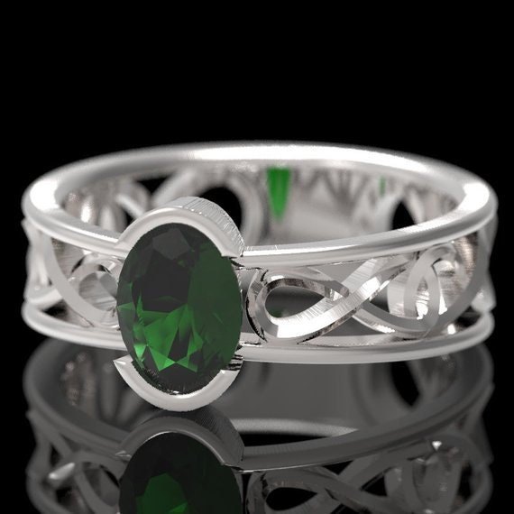 Celtic Wedding Ring with Emerald Stone and Inifinty Knot in Sterling, 10K 14K 18K Gold, Palladium or Platinum Made in Your Size CR-13d