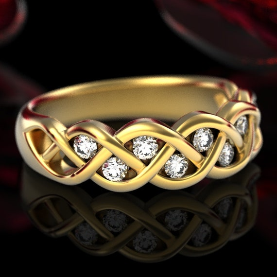 Celtic Wedding Moissanite Ring With Braided Knot Design, Celtic Knot Ring in Sterling, 10K 14K 18K Gold or Platinum Made in Your Size 1005