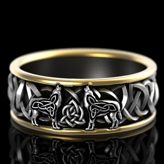 Celtic Wolf 2-Tone Ring in Sterling Silver & 10K Gold, Wolf Wedding Band, Viking Wolf Ring, Norse Ring for Him, Custom Ring Design 1170C