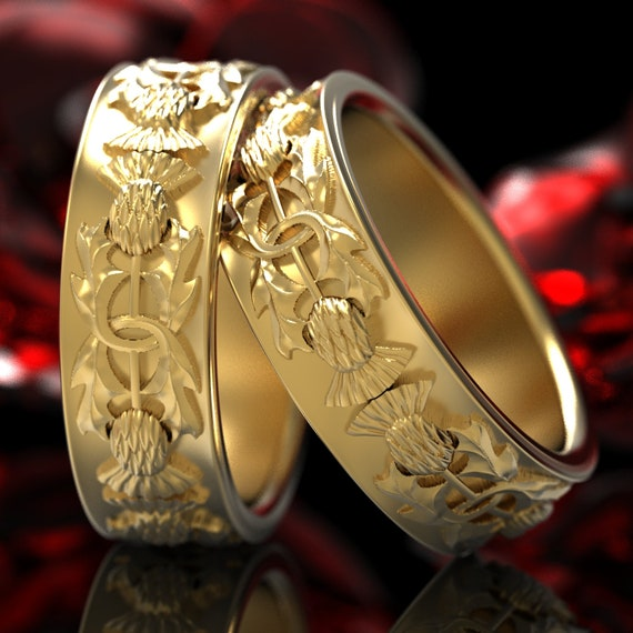 Gold Thistle Ring Set, 10K 14K 18K Gold Scottish Ring, Unique Rings for Her, Botanical Jewelry, Handcrafted Rings, Platinum Palladium 5057