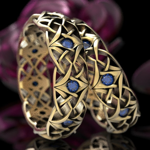 Celtic Eternity Band Set with Sapphires, Celtic Sapphire Wedding Set, Bespoke Celtic Knot Rings, Celtic 10K, 14K, 18K Gold or Platinum 1300