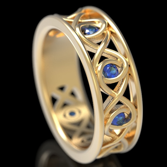 Celtic Blue Sapphire Wedding Ring With Infinity Knot Design in 10K 14K 18K Gold, Palladium or Platinum Made in Your Size CR-511