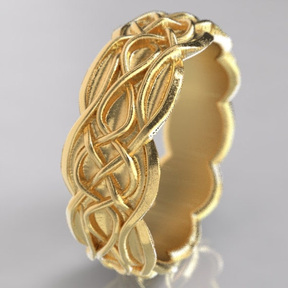Gold Celtic Wedding Ring With Infinity Symbol Pattern & Quaternary Celtic Knots in 10K 14K 18K, Palladium Platinum Made in Your Size Cr-1053