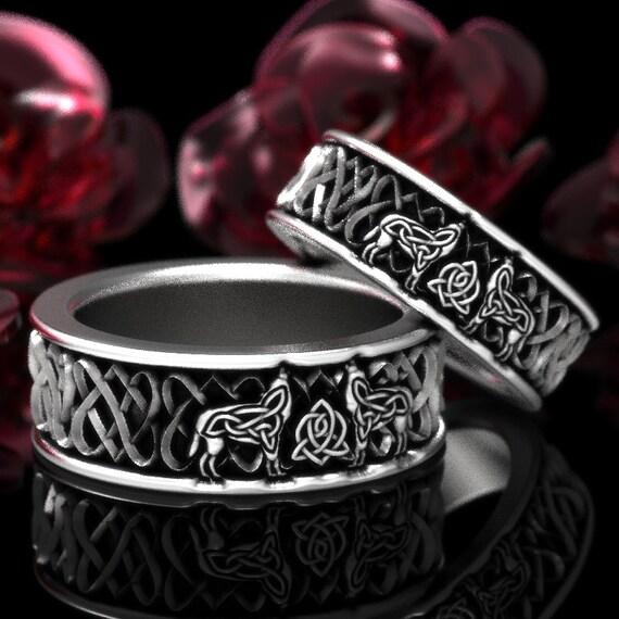 RESERVED FOR Jennifer Sterling Silver Celtic Wolf Ring Set, Wolf Wedding Bands, Celtic Animal Ring, Custom Ring Design 1165