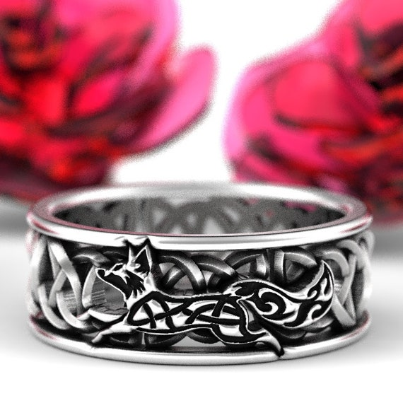 Celtic Fox Silver Ring, Sterling Fox Wedding Band, Womens Wedding Band, Irish Wedding, Fox Jewelry, Celtic Knot Ring, Custom Size 1151