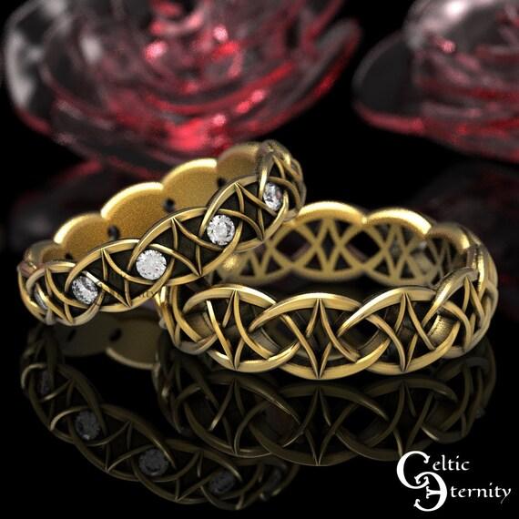 Moissanite & Gold Celtic Wedding Band Set, 10K 14K 18K Gold Platinum Ring Set, His Hers Modern Gold Ring Set, Gold Infinity Band, 99 + 1036