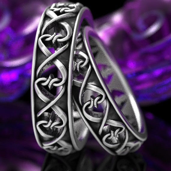 Intertwined Hearts Pattern Set Of Two Rings Celtic Heart Wedding Rings Unique Heart Symbol Ring In Sterling Silver Custom Size Cr 1272