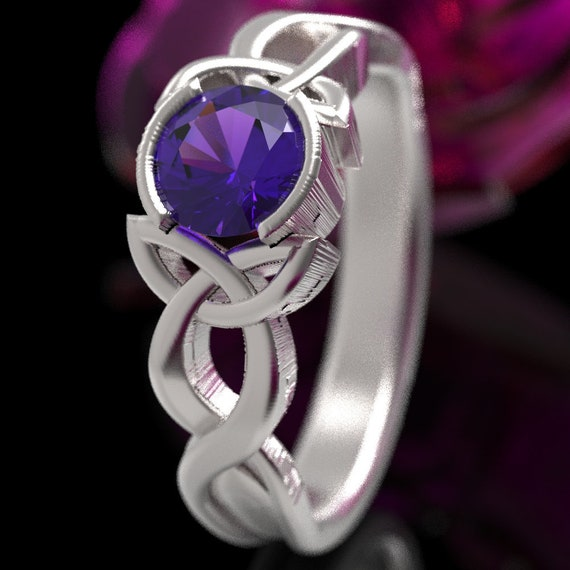 Amethyst Engagement Ring, Made in Sterling Silver 10K, 14K or 18K Gold, Palladium or Platinum Celtic Knot Ring, Made in Your Size 405b