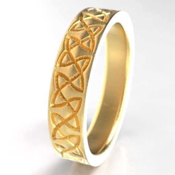 Celtic Wedding Ring With Classy Dara Knotwork Design in 10K 14K 18K Gold, Palladium or Platinum, Wedding Ring Made in Your Size CR-748