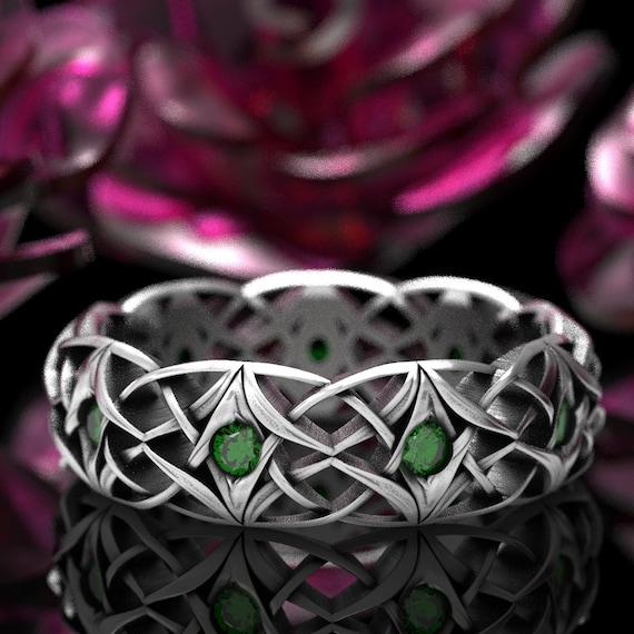 Celtic Emerald Wedding Ring, Celtic Eternity Band with Emeralds, Bespoke Celtic Knot Ring, Sterling Silver, Made in Your Size CR-1300