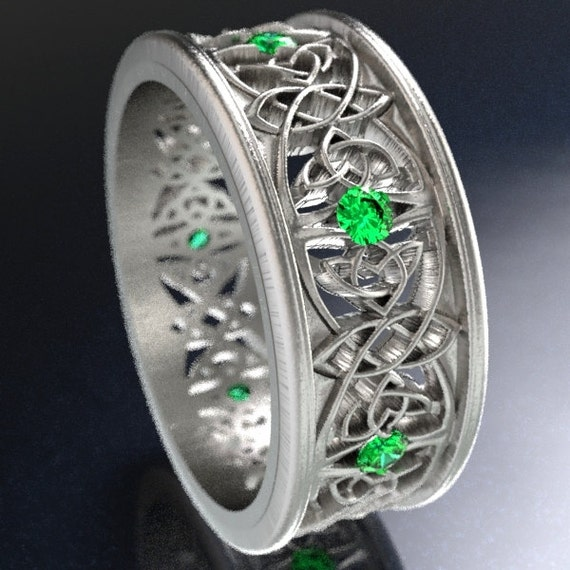 Celtic Wedding Ring With Cut-Through Celtic Butterfly Knot Design With Emerald Stones in Sterling Silver, Made in Your Size CR-1040
