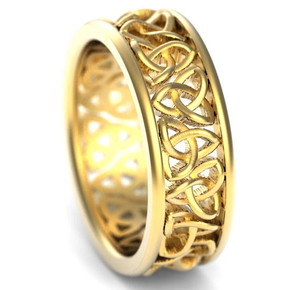 Celtic Wedding Ring With Cut-Through Trinity Knot Design in 10K 14K 18K Gold, Platinum or Palladium Made in Your Size CR-200
