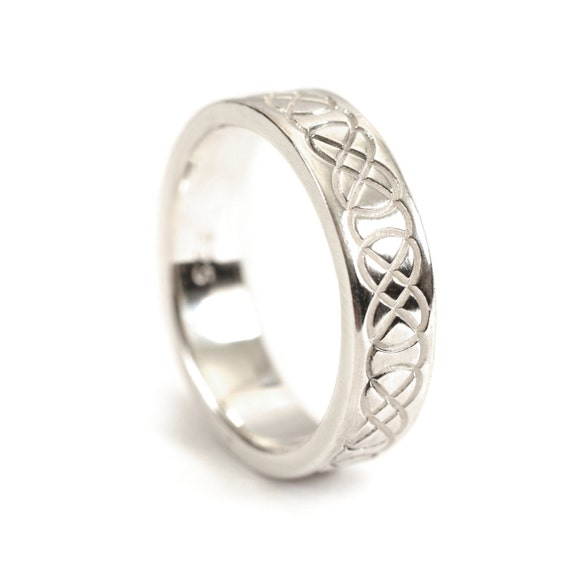 Celtic Wedding Ring with Raised Relief Infinity Knotwork 10K 14K 18K Gold, Palladium or Platinum, Wedding Ring Made in Your Size CR-753