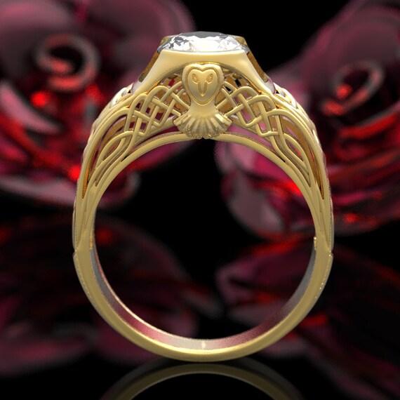 Gold Celtic Owl Solitaire 1 Carat Moissanite Wedding Ring, Gold Owl Ring, Unique Wedding Ring,  Barn Owl, 10K 14K 18K Gold or Platinum 6005