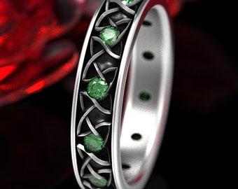 Emerald Endless Dara Knotwork Celtic Wedding Ring, Emerald Celtic Knot Wedding Ring, Bride Dara Knot Ring, Emerald Silver Celtic Ring 1352