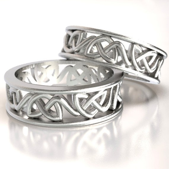 Celtic Wedding Band Set, 925 Sterling Silver Wedding Set, Celtic Eternity Knot Rings, His and Hers Rings Lovingly Crafted in Your Size CR228