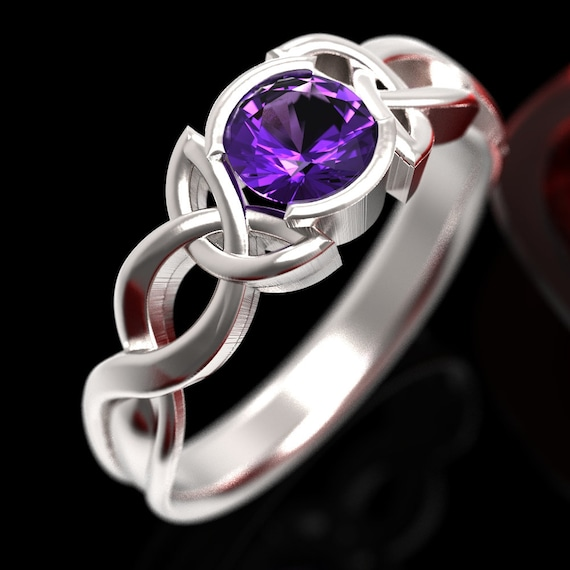 Amethyst Engagement Ring, Made in Sterling Silver 10K, 14K or 18K Gold or Platinum Celtic Knot Ring, Made in Your Size 405b